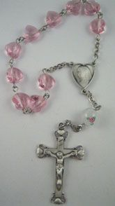 Sterling Silver Heart One Decade Rosary Kit