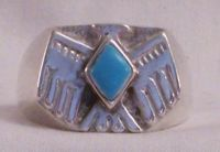 Thunderbird Men's Ring, Turquoise Stone