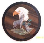 "Eagle on 18"" Dia. Wood Plaque"