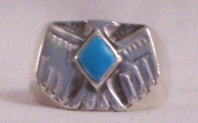 Thunderbird Men's Ring, Turquoise Stone
